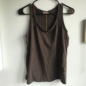Sundry black distressed tank top